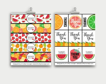 Fruity Wrap labels- Handmade with love- PDF Download