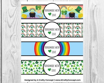 St. Patricks Day - Handmade with Love - Product Wrap Labels - PDF