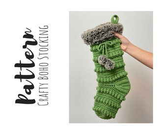 Crochet Christmas Stocking Pattern, Christmas Crochet Patterns, Stocking Crochet Pattern, Easy Crochet Pattern, Crochet Holiday Stocking