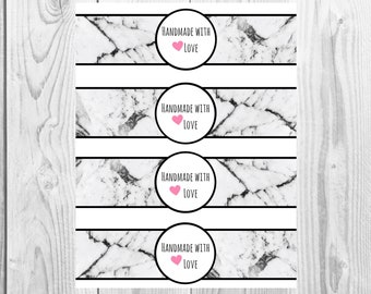 Marble - Handmade with Love - Product Wrap Labels - PDF