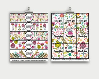 Funky Flower Wrap labels- Handmade with love- PDF Download
