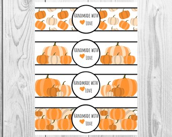 Pumpkin  - Handmade with Love - Product Wrap Labels - PDF