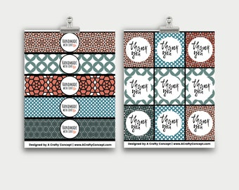 Tile Wrap labels- Handmade with love- PDF Download