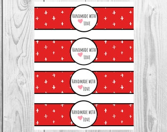 Red - Handmade with Love - Product Wrap Labels - PDF