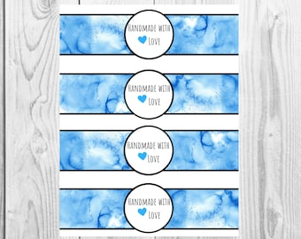 Blue Watercolor - Handmade with Love - Product Wrap Labels - PDF