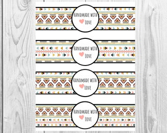Boho - Handmade with Love - Product Wrap Labels - PDF