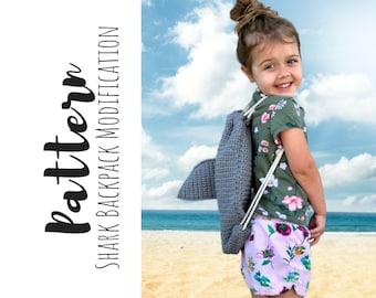 Crochet Shark Backpack Modification, Crochet Shark Pattern, Easy Crochet Backpack Modification, Crochet Shark Back, Crochet Shark Fin