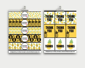 Pineapple Wrap Labels- Handmade with love- PDF Download