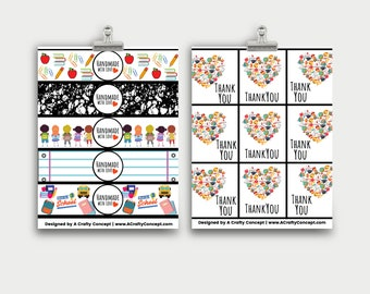 Back to School Printable Handmade Gift Tags, Labels for Handmade Items, Small Business Supplies, School Themed Handmade Labels, PDF Labels