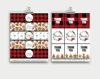 Buffalo Plaid Wrap Labels, Plaid Thank You Cards, Christmas Product Labels, Buffalo Plaid Product Tags, Business Thank You Cards, PDF Tags