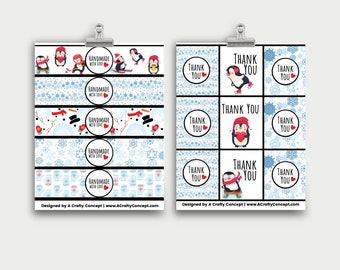 Snowflake Product Wrap Labels, Handmade with love Tags, PDF Tag Download, PDF Labels Download, Product Packaging Tags, Handmade By Tags,
