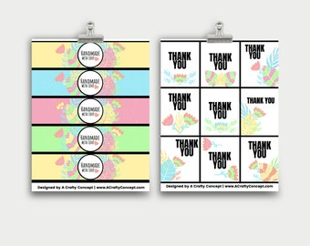 Spring Leaf Wrap Labels- Handmade with love- PDF Download