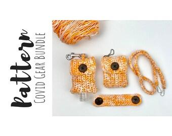 Crochet Patterns Bundle, Crochet Hand Sanitizer Cozy Pattern, Crochet Mask Lanyard Pattern, Crochet Mask Holder Pattern, Crochet Ear Savers