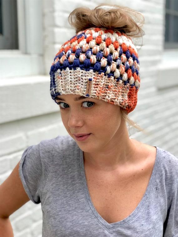 Crochet Bun Beanie Crochet Bun Hat Crochet Messy Bun Beanie