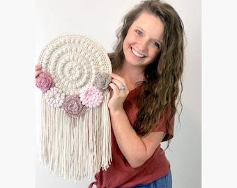 CROCHET PATTERN-  Wall Hanging, Crochet Home Decor Pattern, Crochet Flower Pattern, Easy Crochet Pattern, Crochet Dreamcatcher Pattern