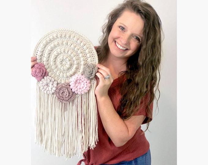 Featured listing image: CROCHET PATTERN-  Wall Hanging, Crochet Home Decor Pattern, Crochet Flower Pattern, Easy Crochet Pattern, Crochet Dreamcatcher Pattern