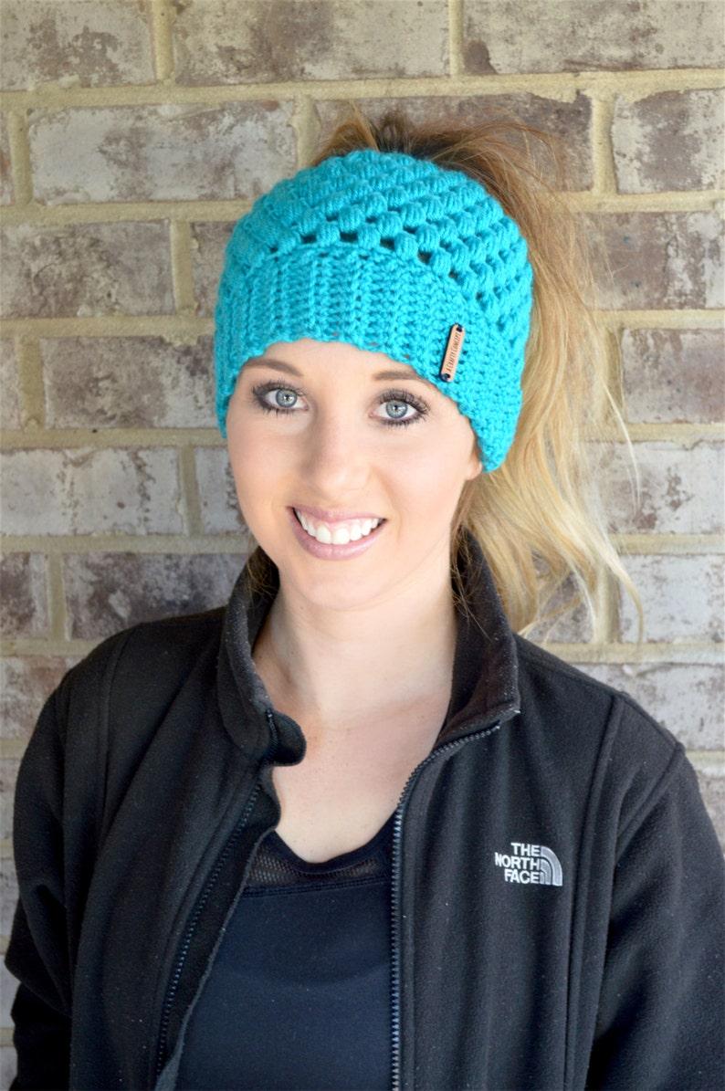 Crochet Ponytail Beanie Messy Bun Beanie Crochet Top Knot Etsy