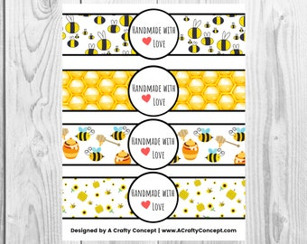 Bumble Bee Printable Handmade With Love Label Sheet, PDF Download Product Labels, Made with Love Tag