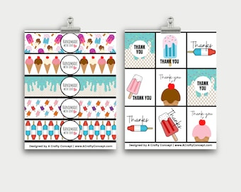 Ice Cream Printable Handmade Label, Handmade With Love Tags For Summer, Ice Cream Product Labels