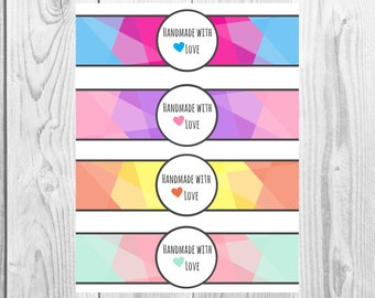 Colorful Geometric Handmade with Love Printable, Printable Product Labels, Small Business Supplies, Branded Packaging