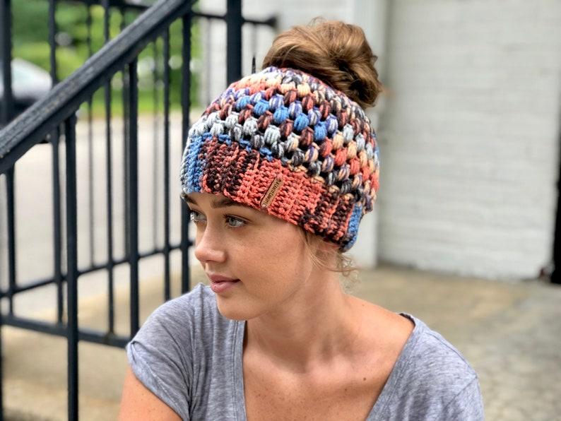 Crochet Bun Beanie Crochet Bun Hat Crochet Messy Bun Beanie Etsy