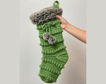 CROCHET PATTERN-  Christmas Stocking, Christmas Crochet Patterns, Bobble Stocking Pattern, Easy Crochet Pattern, Crochet Holiday Stocking