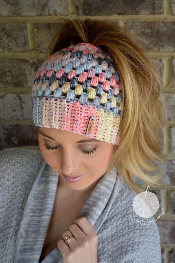 Crochet Messy Bun Beanie Messy Bun Beanie Top Knot Beanie Etsy