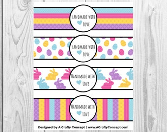 Easter Handmade With Love Tags, Bunny Product Labels PDF, Labels for handmade items, Easter Egg Labels