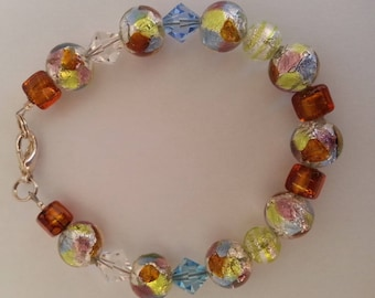 """Murano glass - Bracelet multicolor collection """"arcobaleno"""" and silver foil."""