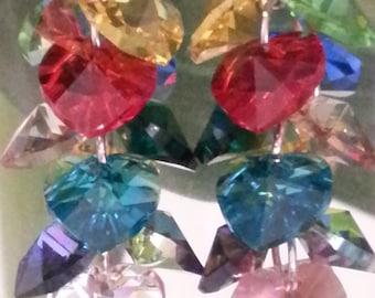 Swarovski crystal - earrings multicolor Crystal hearts.