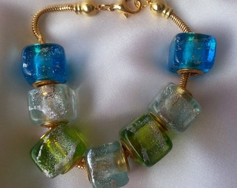 cb47413bf BRACELET authentic Murano glass beads big hole