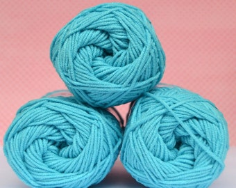 Kacenka - soft cotton/acrylic yarn for crochet and knitting, Blue turquoise color, No. 5744, 1 ball/50 g, Producer NCT