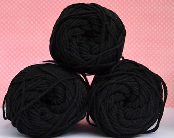 Kacenka - soft cotton/acrylic yarn for crochet and knitting, Black color, No. 9994, 1 ball/50 g, Producer NTC