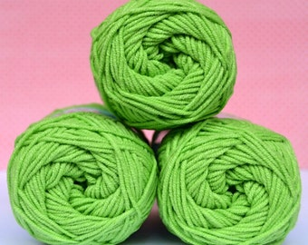 Kacenka - soft cotton/acrylic yarn for crochet and knitting, Bright green color, No. 6124, 1 ball/50 g, Producer NCT