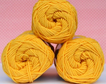 Kacenka - soft cotton/acrylic yarn for crochet and knitting, Bright yellow color, No. 1164, 1 ball/50 g, Producer NCT