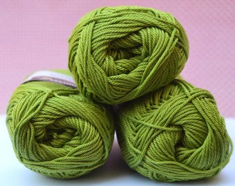 Catania yarn - Schachenmayr / 205 Apfel / 100% Cotton/ Worldwide Shipping / Crochet and Knitting Yarn / 1 ball/50g