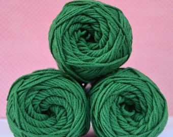 Kacenka - soft cotton/acrylic yarn for crochet and knitting, Grass green color, No. 6184, 1 ball/50 g, Producer NCT