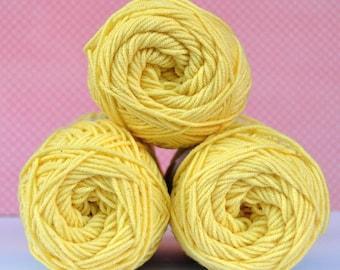 Kacenka - soft cotton/acrylic yarn for crochet and knitting, Light yellow color, No. 1134, 1 ball/50 g, Producer NCT