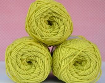 Kacenka - soft cotton/acrylic yarn for crochet and knitting, Light apple green color, No. 6254, 1 ball/50 g, Producer NCT