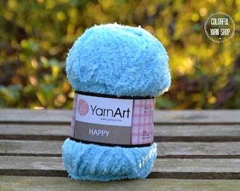 Happy YarnArt - 776 Light blue / Worldwide Shipping / Crochet and Knitting Yarn / Furry / Fuzzy / Fluffy / 1 ball/100g