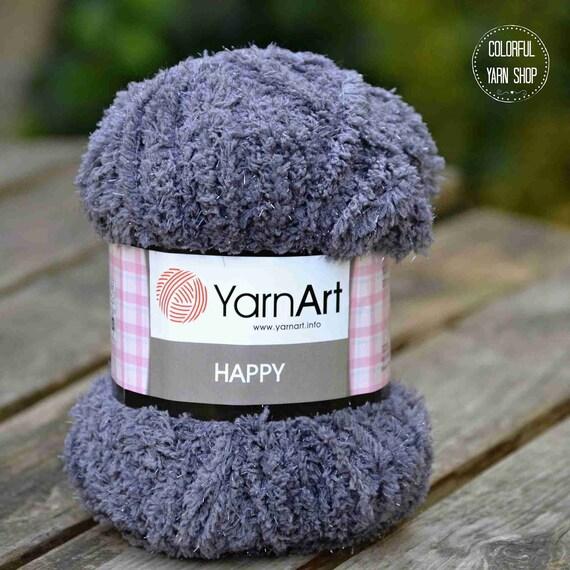 5 x 100g YarnArt Happy Chunky Fluffy Sparkly Teddy Knitting Yarn purple
