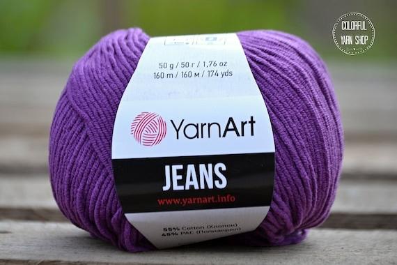 907 Violet Yarn Knitting Denim Washed YarnArt Crochet Worldwide Shipping