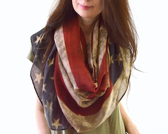 Vintage American Flag Scarf, USA Flag Scarf, American Scarf, Patriotic Scarf, Independence Day, Veterans Day, Gift