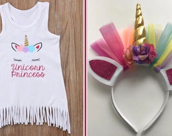 Unicorn Princess fringe dress and matching headband