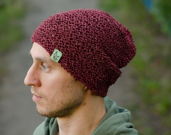 Bordo Handmade Crochet Hemp Beanie Hat Spring Summer Autumn Hat 50 50% Hemp  Cotton 39d26e150b27