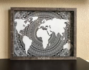 World Map Mandala Etsy - Mandala map of the world