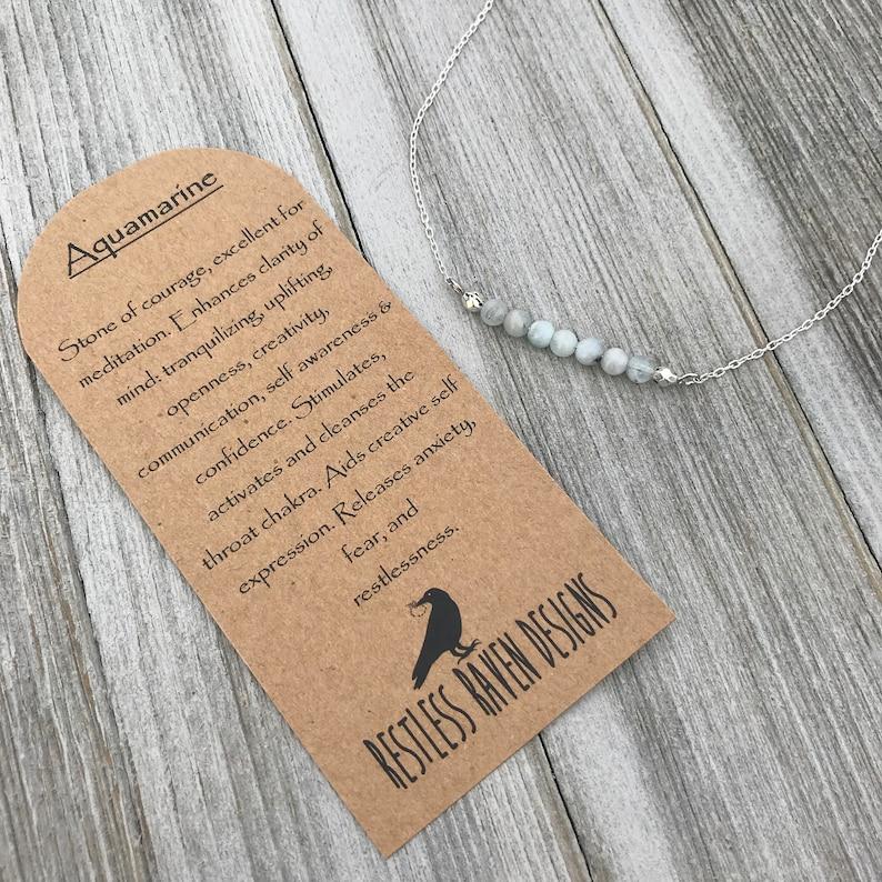 21st Birthday Gift Healing crystals Tiny Aquamarine Beaded Necklace March Birthstone Jewelry