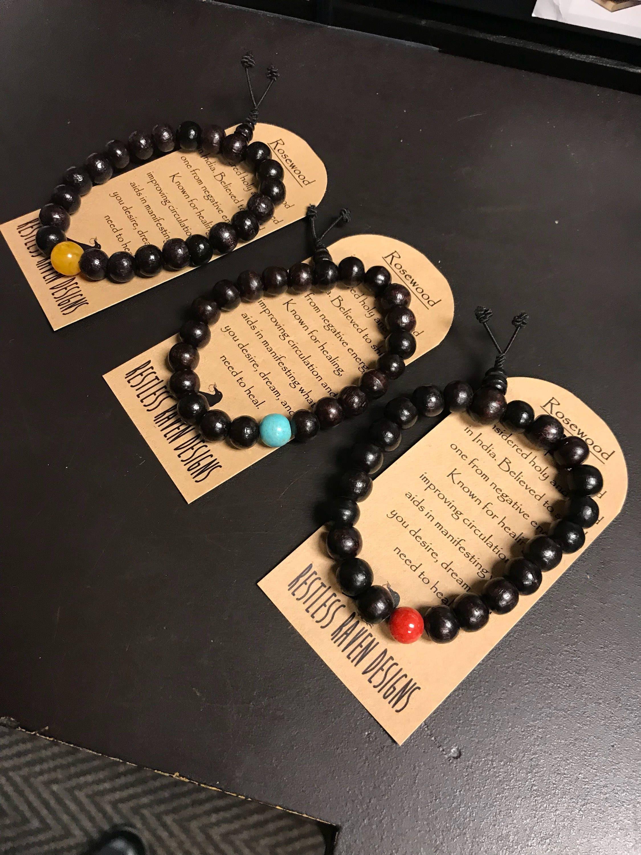 Mens Bracelet Genuine Natural Rosewood Mala Bracelet Healing