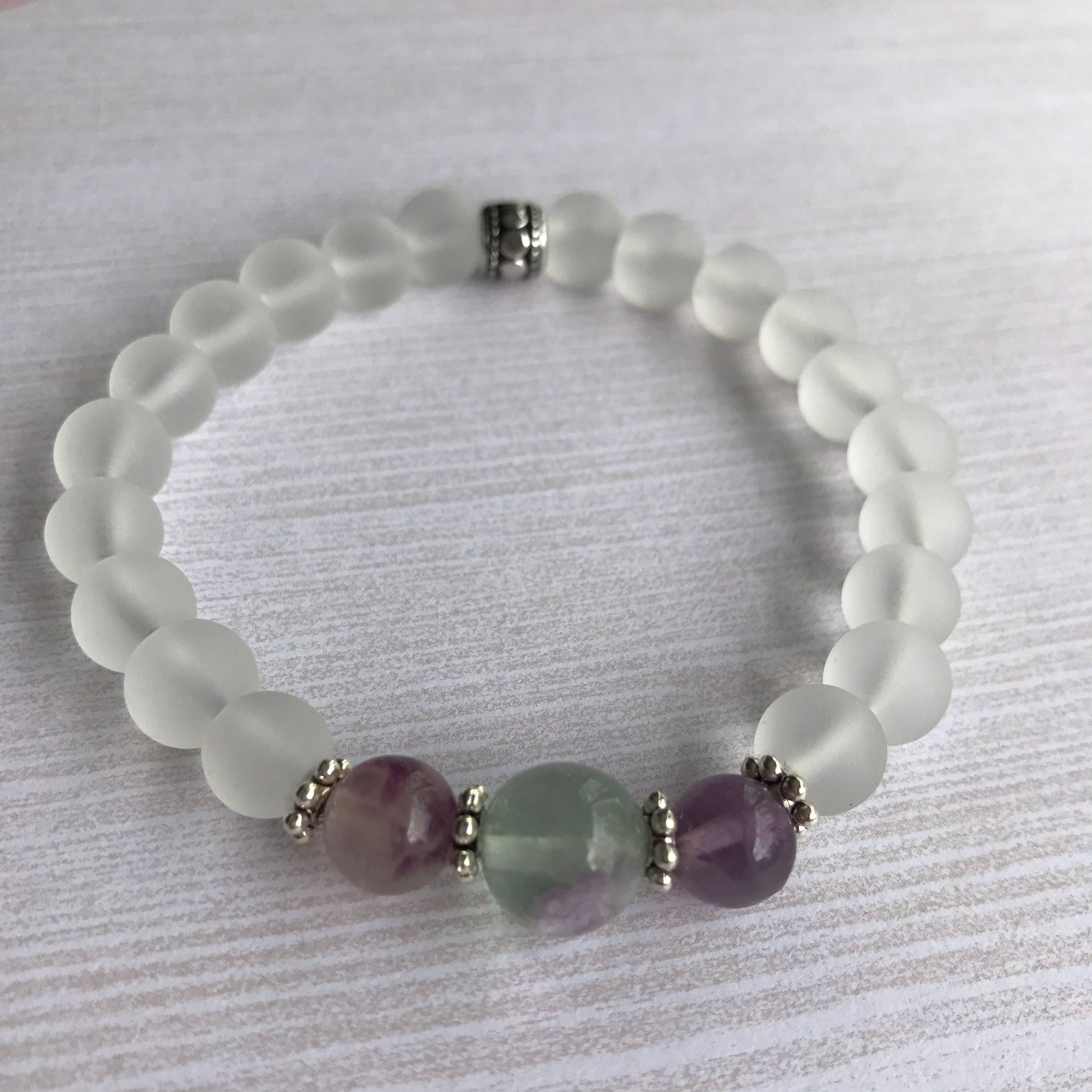 Genuine Rainbow Fluorite Crystal Bracelet Healing Protection Calming Clarity Grounding Stress Relief Meditation Gift Her & Genuine Rainbow Fluorite Crystal Bracelet Healing Protection Calming ...