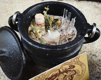 New Moon Ritual Candle | with Cast Iron Triple Moon Cauldron
